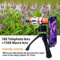 Lentes de cámara del teléfono de gama alta 4in1 kit 18x zoom óptico telescopio lente telefoto teleobjetivo para samsung iphone 150x lente macro + tripod + case