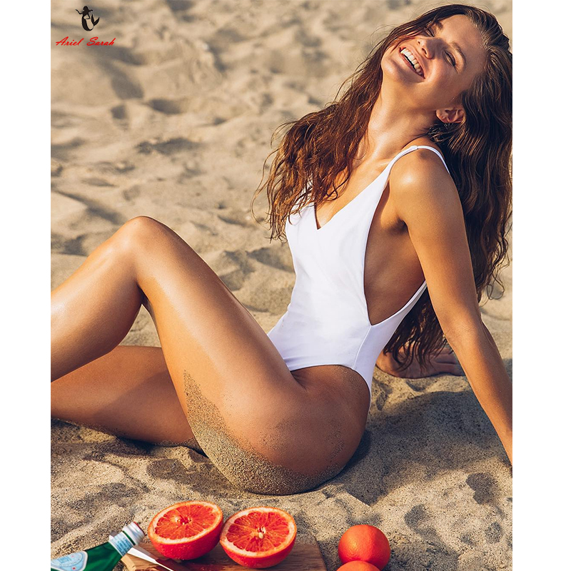 Ariel Sarah Simple Solid Swimwear Women Sexy Deep-V One Piece Swimsuit Plus Size Swimwear Halter Bathing Suit Maillot De Bain women one piece triangle swimsuit cover up sexy v neck strappy swimwear dot dress pleated skirt large size bathing suit 2017