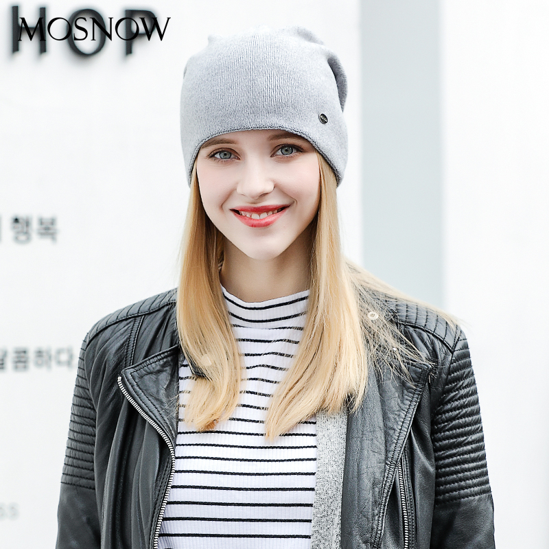 MOSNOW Women Hat Female Beanies Winter Solid Wool Cotton Warm High Quality 2018 Fashion New Knitted Caps Skullies Bonnet #MZ825 gorros femininos