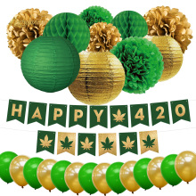 NICROLANDEE 26 pcs/set Happy 420 Party Celebration Decoration Kit Gold Green Paper Flower Lantern Balloons Home DIY