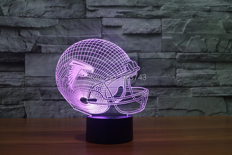 Atlanta Falcons American Football cap helmet NFL 3D LED Color Changing Decor night light by Touch induction control and AAA