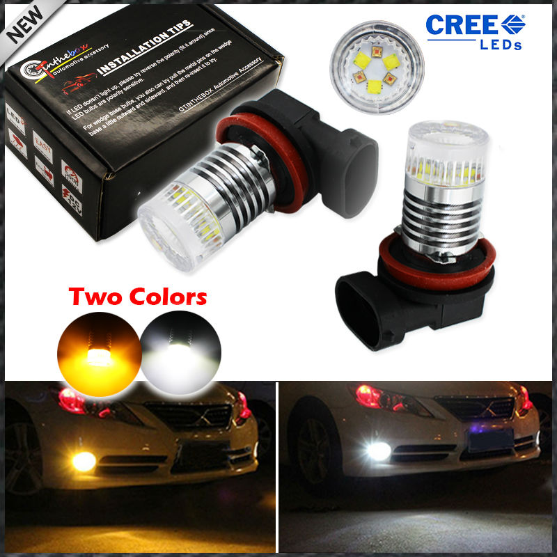 2pcs Color Switchable Xenon White/Amber Yellow CRE'E High Power H11 H8 H9  LED Bulbs Fog Lamps or Driving Light Replacement 2pcs xenon hid white 25w high power 5 xcree xp e chips 881 h27 pgj13 led fog light driving drl bulbs
