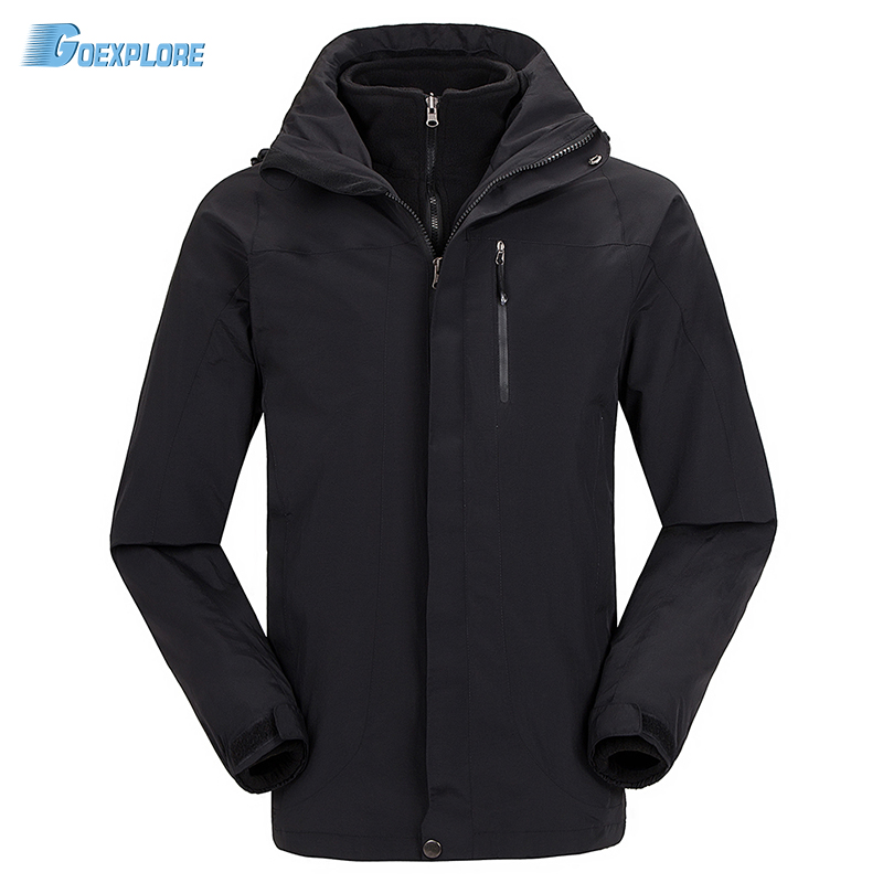 Dropshipping outdoor waterproof thicken jakcet new travel ski outerwear coat sport double layer 3 in 1 winter jacket for mens