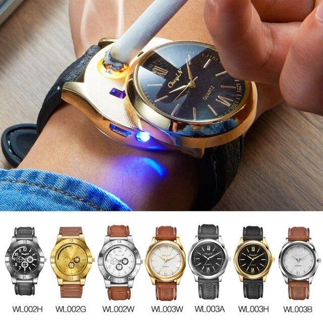 Ckeyin akumulator bezpłomieniową wiatroodporny zapalniczki zapalniczka ładowana na USB Watch mężczyźni Casual kwarcowe zegarki na rękę relogio 45