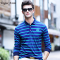 Vogue Anmi.blue men polo shirt new brand Long sleeve striped polo men Business casual men's solid polo shirt
