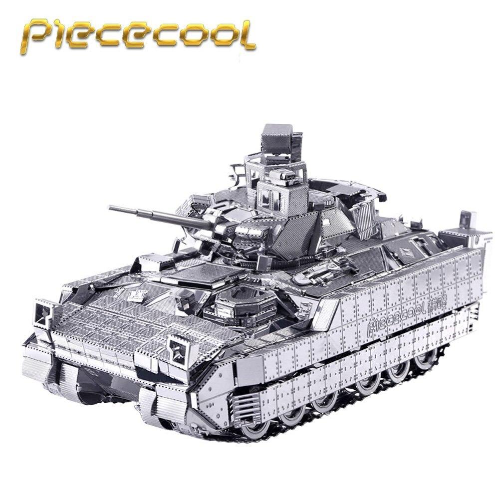 Piececool M2A3 Bradley IFV Tank 3D Metal Puzzle DIY 3D Laser Cut Mini Jigsaws Military Simulation Model Kids Toys Desk Ornament