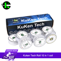 Kuken Tech Roll 10 in 1 Prebuilt Coil Box Kit clapton coils Quad Tiger coils Kanthl A1 for Vape DIY E Cig Premade Coil