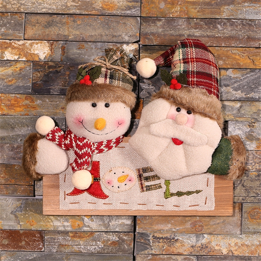 Wooden outdoor christmas decorations - Free Shipping 1pc Outdoor Wooden Christmas Decorations Navidad Santa Snowman Dolls Door Ornaments Christmas Decorations