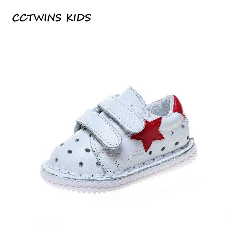 CCTWINS KIDS 2018 Summer Girl Fashion Star Casual Shoe Baby Boy Genuine Leather First Walker Children Black Soft Flat FW034