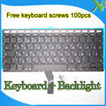 "Brand New RU Russian keyboard+Backlight Backlit+100pcs keyboard screws 2010-2015 Years For MacBook Air 13.3"" A1369 A1466"