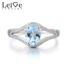 Leige Jewelry Genuine Natural Blue Aquamarine Ring 925 Sterling Silver Oval Cut March Birthstone Gemstone Promise Wedding Rings