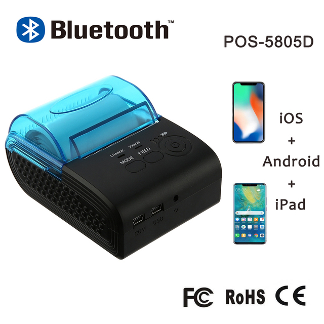 Zjiang 58mm Bluetooth מדפסת תרמית מדפסת קבלה ניידת Mini כרטיס מכונה עבור טלפון נייד אנדרואיד iOS Windows