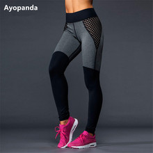 Ayopanda HIgh Quallity Mesh Yoga Pants Black Grey Patchwork Full Length Running Tights Women Workout Leggings Fitness Legging