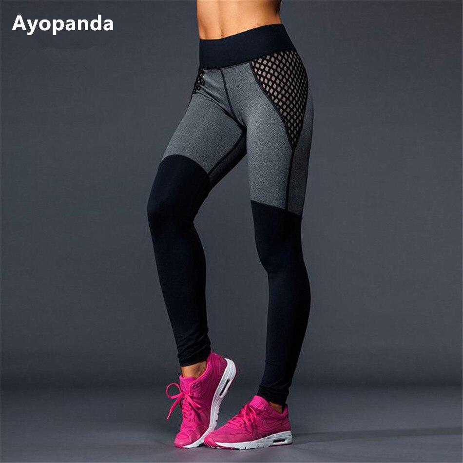 Ayopanda HIgh Quallity Mesh font b Yoga b font Pants Black Grey Patchwork Full Length Running