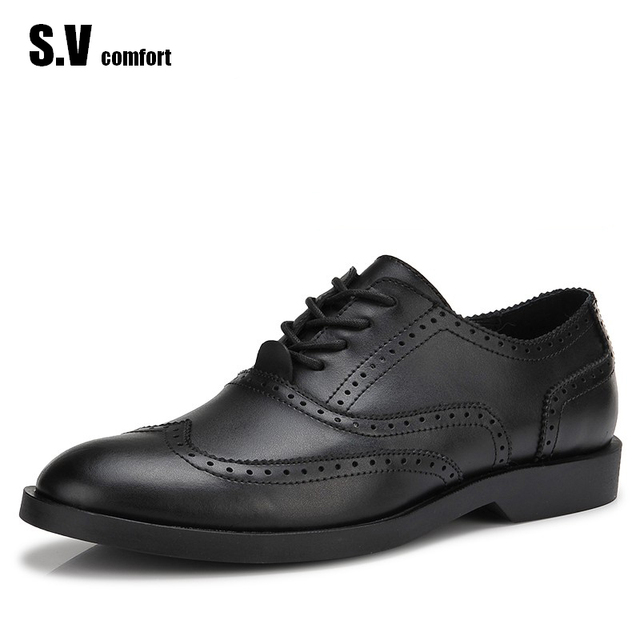2017 Designer Man Shoes Leather Casual Shoes High Quality  Mssculino Height Increasing Shoes Zapatos Brogue SV Comfort