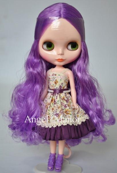 Free shipping Nude Blyth Doll, purple5 hair, big eye doll,For Girl's Gift,PJZ005 free shipping nude blyth doll black2 hair big eye doll for girl s gift pjb002
