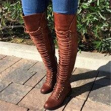 AGUTZM New Women's Over Knee High Boot Lace Up Slim Thigh High Heel Long Thigh Boots Shoes Rivets High Heels Bota Feminina