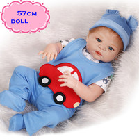 NPK Real Looking Full Body Silicone Reborn Dolls About 57cm With Lovely Blue Clothes For Dolls As Most Popular Toys For Children