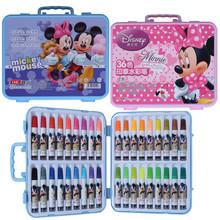 Disney Mickey Minnie 36pcs Watercolor Brush Markers Stamps Children Education Learning Drawing Toys Gifts for Kids Boy Girl