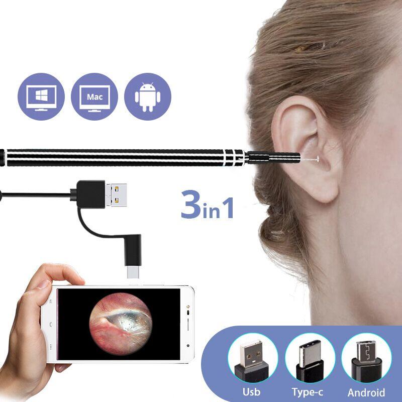 3 en 1 USB oído limpieza endoscopio HD cuchara oído funcional herramienta de diagnóstico oído limpiador Android 720 p Cámara oído de atención de la salud