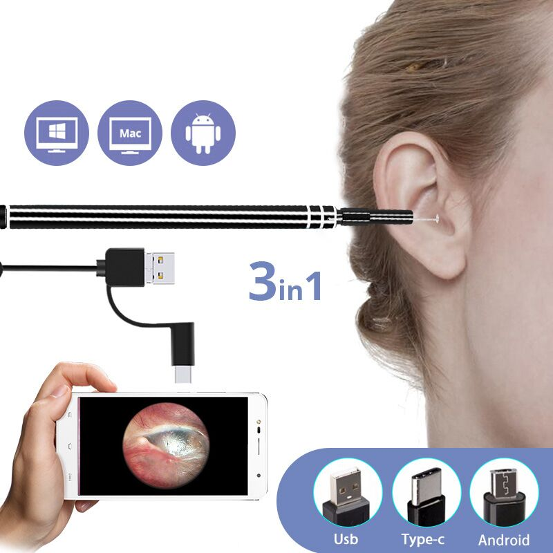 3 in 1 USB Ear Cleaning Endoscope HD Visual Ear Spoon Functional Diagnostic Tool Ear Cleaner Android 720P Camera Ear Health Care 3 in 1 usb otg visual ear cleaning endoscope spoon functional diagnostic tool ear cleaner android 0 3mp camera ear pick