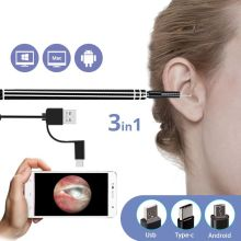 3 in 1 USB Ear Cleaning Endoscope HD Visual Ear Spoon Functional Diagnostic Tool Ear Cleaner Android 720P Camera Ear Health Care 720p wireless wifi ear cleaning endoscope 2m hd visual ear spoon inspection otoscope camera ear health care android pc ios f170