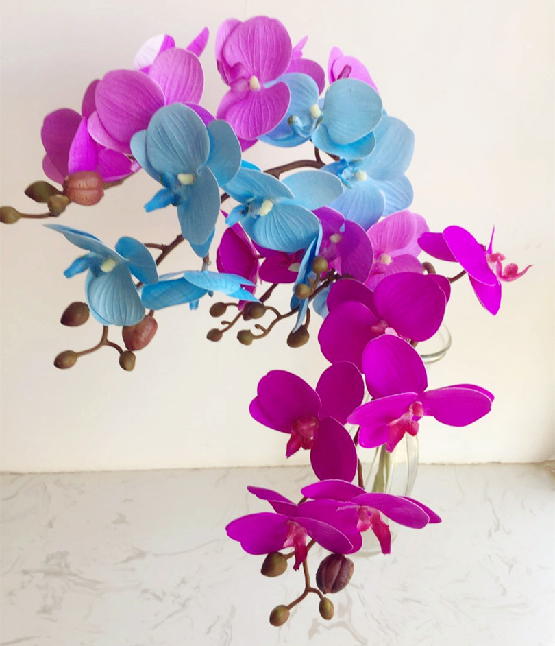 Artificial Butterfly Orchid Flower Fake Orchids 8 Heads