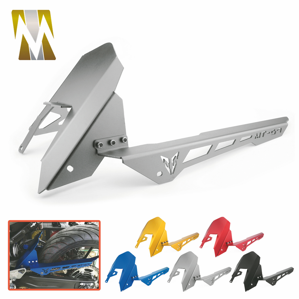 Motorcycle Rear Tire Fender Mudguards With Chain Guard Cover For Yamaha MT07 MT 07 2013-2017 FZ07 2015-2017 CNC Aluminum 2 in 1 gt motor free shipping cnc aluminum rear tire hugger fender mudguard chain guard cover for yamaha mt07 mt 07 13 17 fz07 15 17