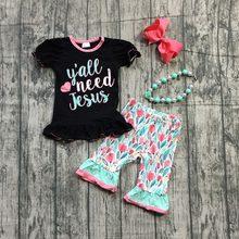 41e783cefcd Летние для маленьких девочек мятнокорраловый черный y all need Иисус цветок  цветочный детская одежда Бутик