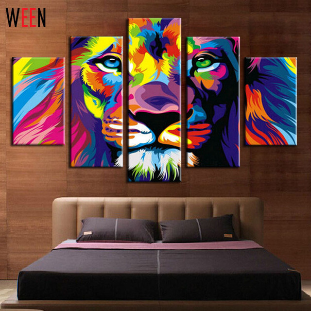 Diy Framed Lion King Animal Abstract Print Canvas Painting Wall Art Picture For Living Room Decoration