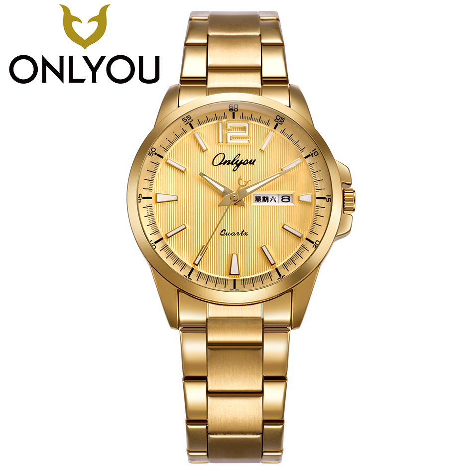 ONLYOU Men Watch Top Luxury Brand Gold Watches Male Luminous Waterproof Wristwatch Gentleman Quartz Clock Wholesale onlyou men s watch women unique fashion leisure quartz watches band brown watch male clock ladies dress wristwatch black men
