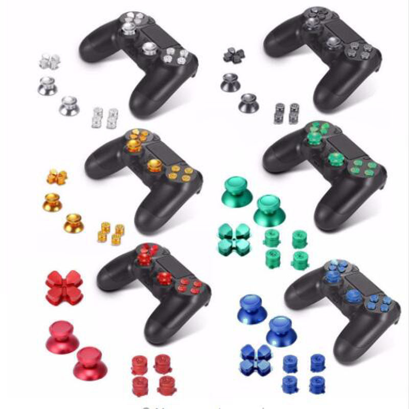 Metal Analog Joystick ThumbStick Grip Caps+Dpad Action D-Pad Buttons For Sony Playstation Dualshock 4 PS4 DS4 Gamepad Controller