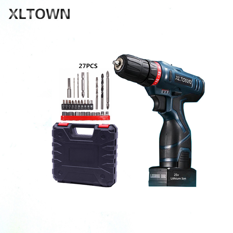 Xltown 25v rechargeable lithium battery electric screwdriver with a Plastic box packaging with 27pcs electric drill power tool стоимость