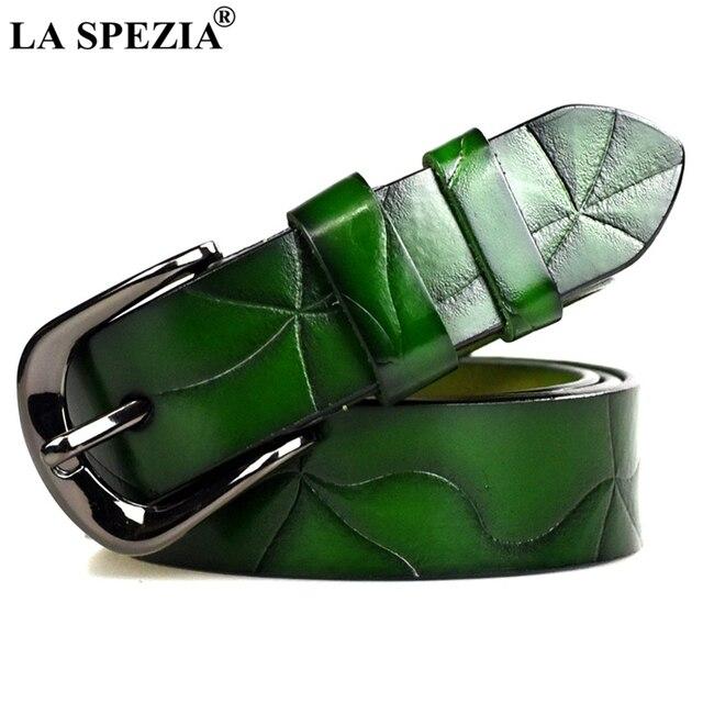 LA SPEZIA Green Belt Leather Women Double Loop Belt Ladies Real Cowskin Lether Pin Buckle Female Luxury Fashion Belt Brand Red