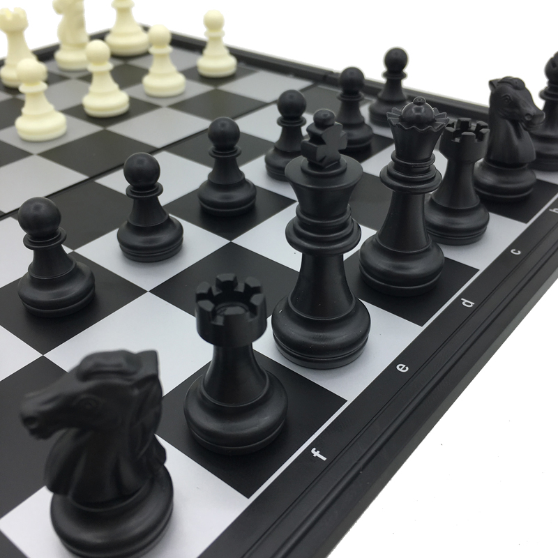 Plastic Folding & Magnetic Chess Tournament Set Board Size 25 cm x 25 cm King Height 5 cm Travel Games Gifts For Kids & Adults