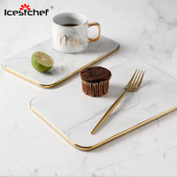 ICESTCHEF Marble Chopping Board Ceramics Pizza Plate Flat Rectangle Tray Steak Dish For Bread Tableware