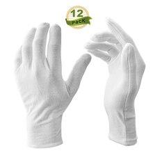 12 זוגות\חבילה לבן רך כותנה Stretchable רירית כפפת כפפות טקסיות לזכר נקבה הגשה/מלצרים/נהגים כפפות