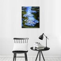 Handmade oil painting reproduction of Claude Monet High quality Water Lilies blue green Living room decor