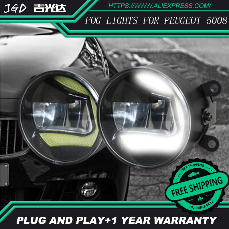 Free Shipping Fog light For Peugeot 5008 LR2 2006-2014 Car styling front bumper LED fog Lights high brightness fog lamps 1set for opel astra 2004 2014 lr2 car styling front bumper led fog lights high brightness fog lamps 1set