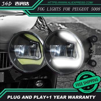 Free Shipping Fog light For Peugeot 5008 LR2 2006-2014 Car styling front bumper LED fog Lights high brightness fog lamps 1set