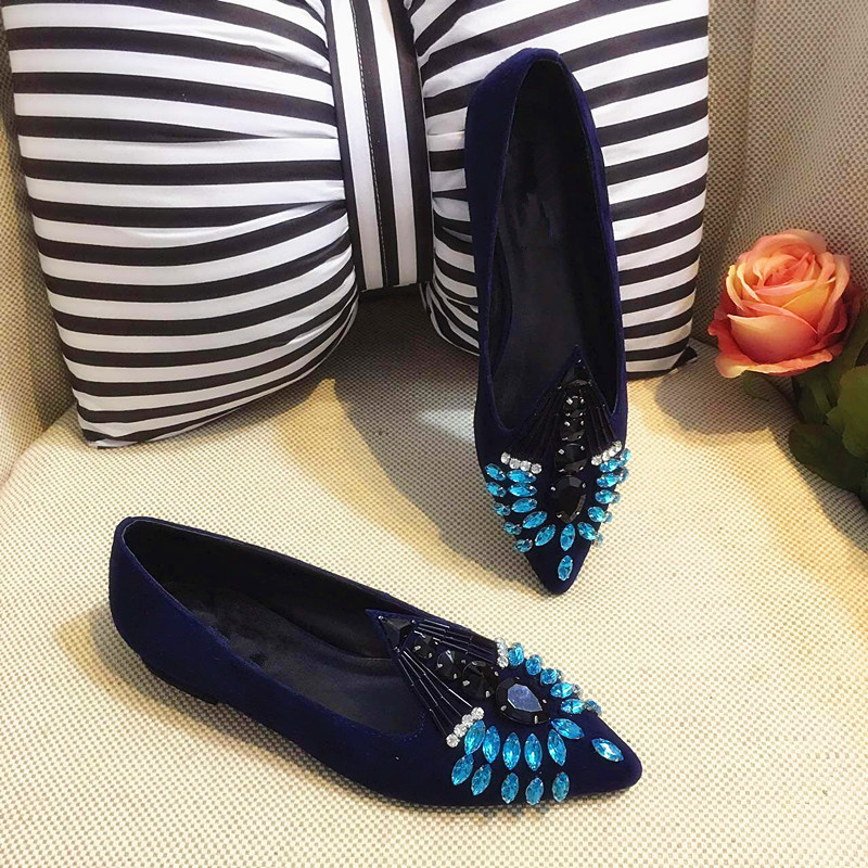 black silk wedding shoes with flat shoes genuine leather rhinestone pointed toe shoes spring autumn party