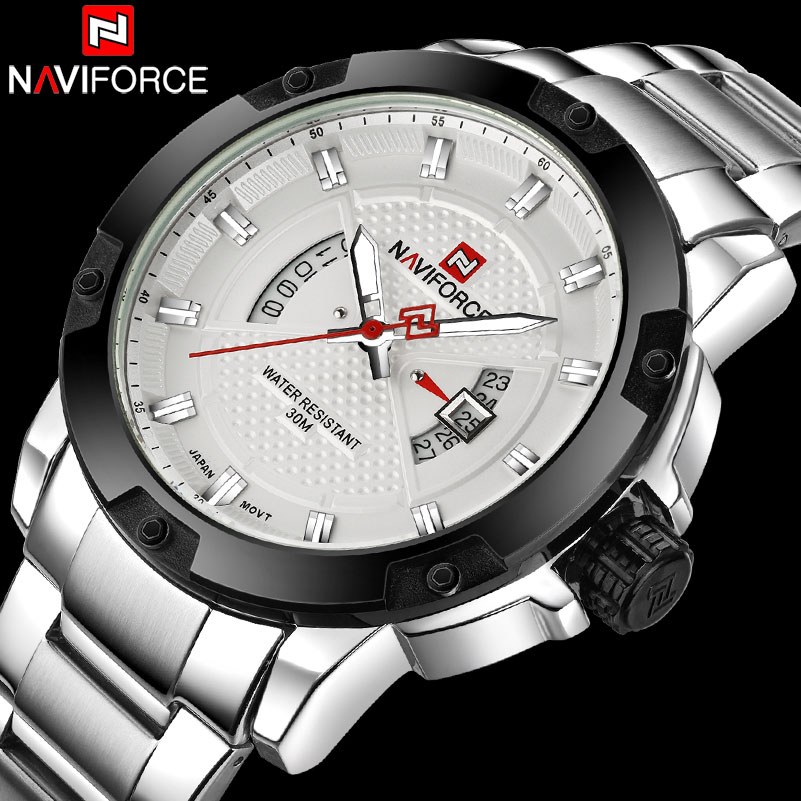 NAVIFORCE Men Watches Luxury Sport Quartz Watches Silver Business Steel Watch 30M Waterproof Auto Date Wristwatches Reloj Hombre ttlife waterproof quartz watch men business classic big dial watches men leather sport wristwatches brand luxury relojes hombre