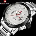 men watches NAVIFORCE luxury sport quartz watches silver business steel watch 30M waterproof auto date wristwatches reloj hombre