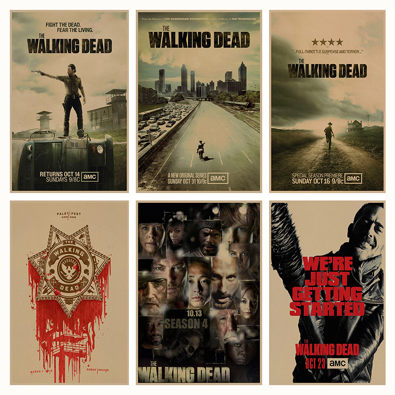 The Walking Dead Cartel de película retro Retro de Papel Kraft Café Bar Pintura