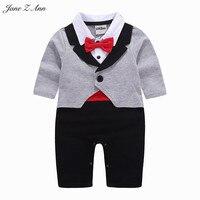 Jane Z Ann Baby Boy Clothes 2018 Gray Red Bow Tie Tuxedo Romper Infant Toddler Gentlemen
