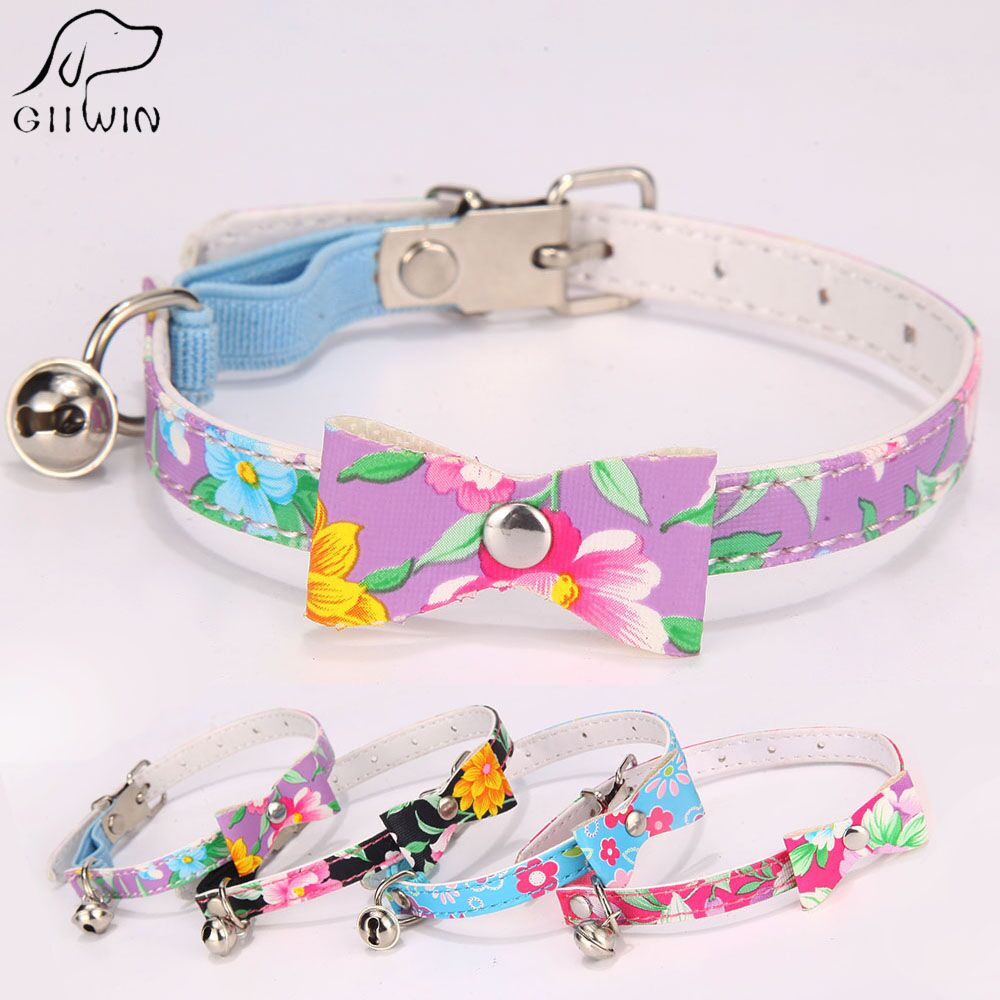 Pu Leather Cat Collar With Bell For Small Dogs Pet Products In Cat Puppy Collars And Leads Retractable Dog Collar Kitten Jw0001