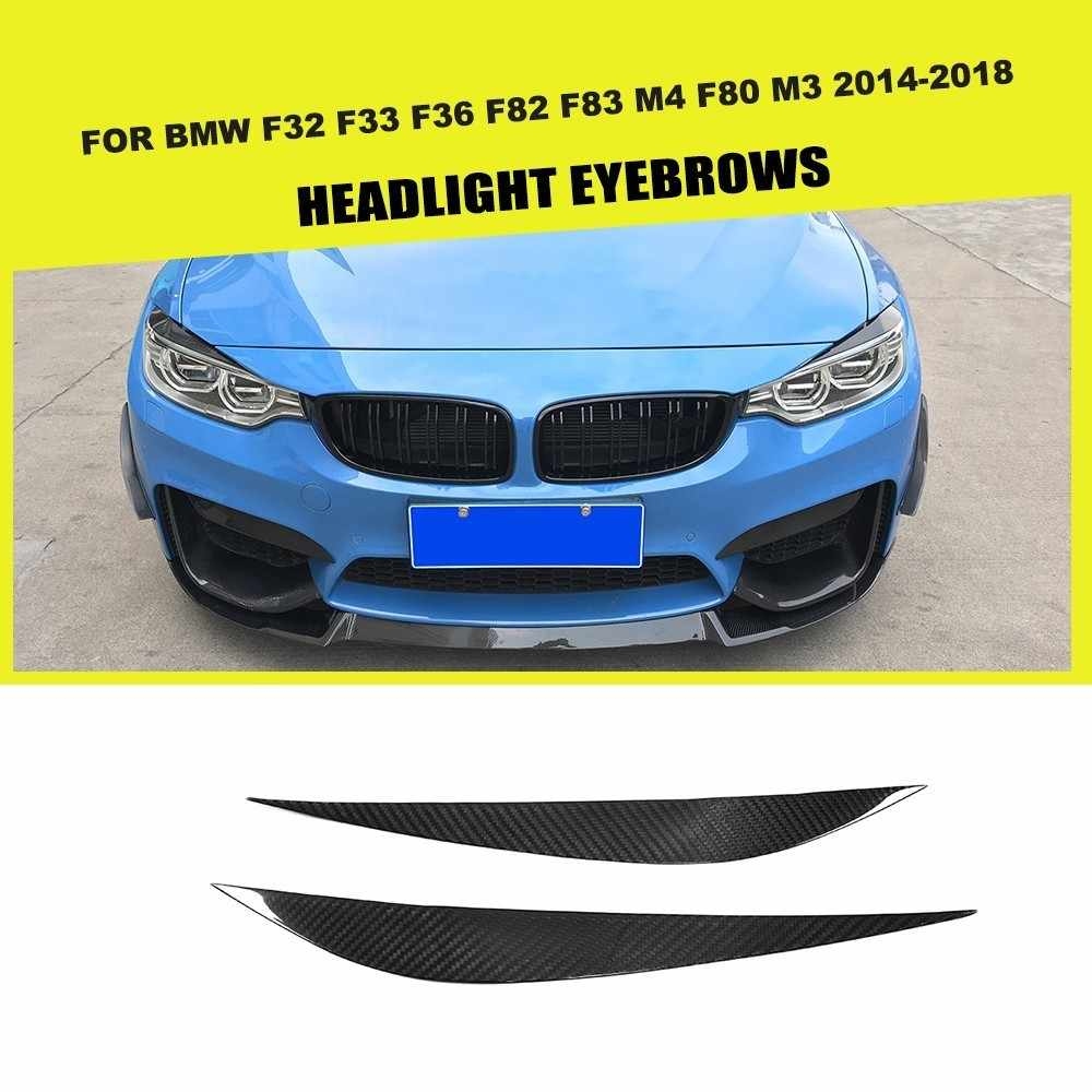 Carbon Fiber FRP Car Front Headlight Lamp Eyelids Eyebrows Trims for BMW F33 F32 F36 F82 F83 M4 F80 M3