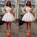 Romantic Long Sleeve 2016 New Summer Sexy Mini Short White Lace Women Special occasion Cocktail Party Dress robe de cocktail