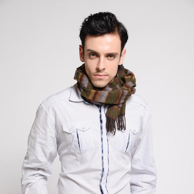 Hombres bufanda de lana importada de invierno cálido nueva Franja marginal B5048 larga bufanda caliente