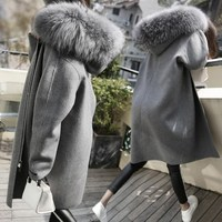 Autumn Winter New Women Solid Woolen Coat Fashion Big Fur Collar Hooded Plus Size Coat Casual Loose Long Outerwear